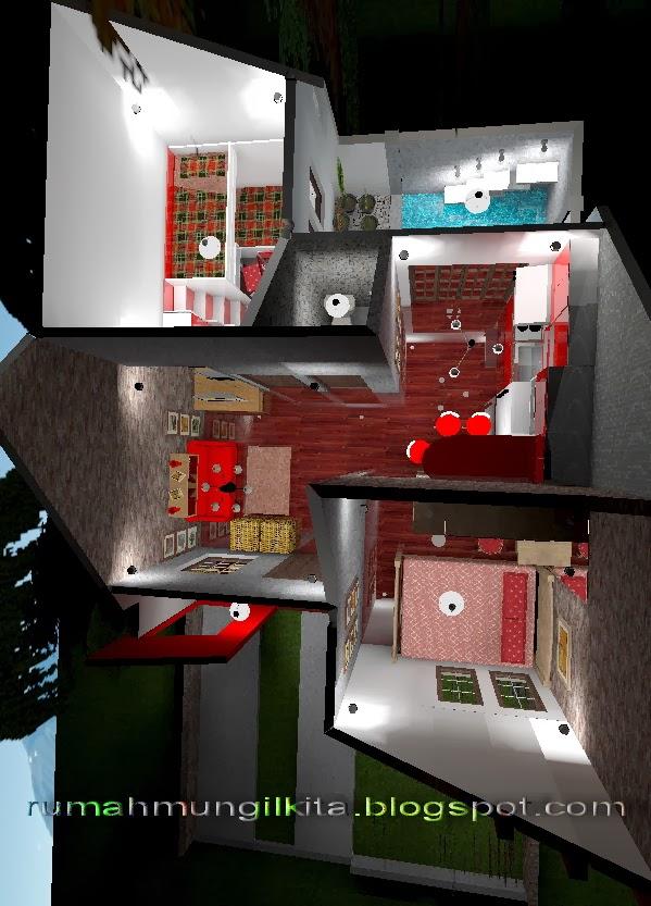 denah rumah tipe 36 tanah 72 m2 dengan desain unfurnished