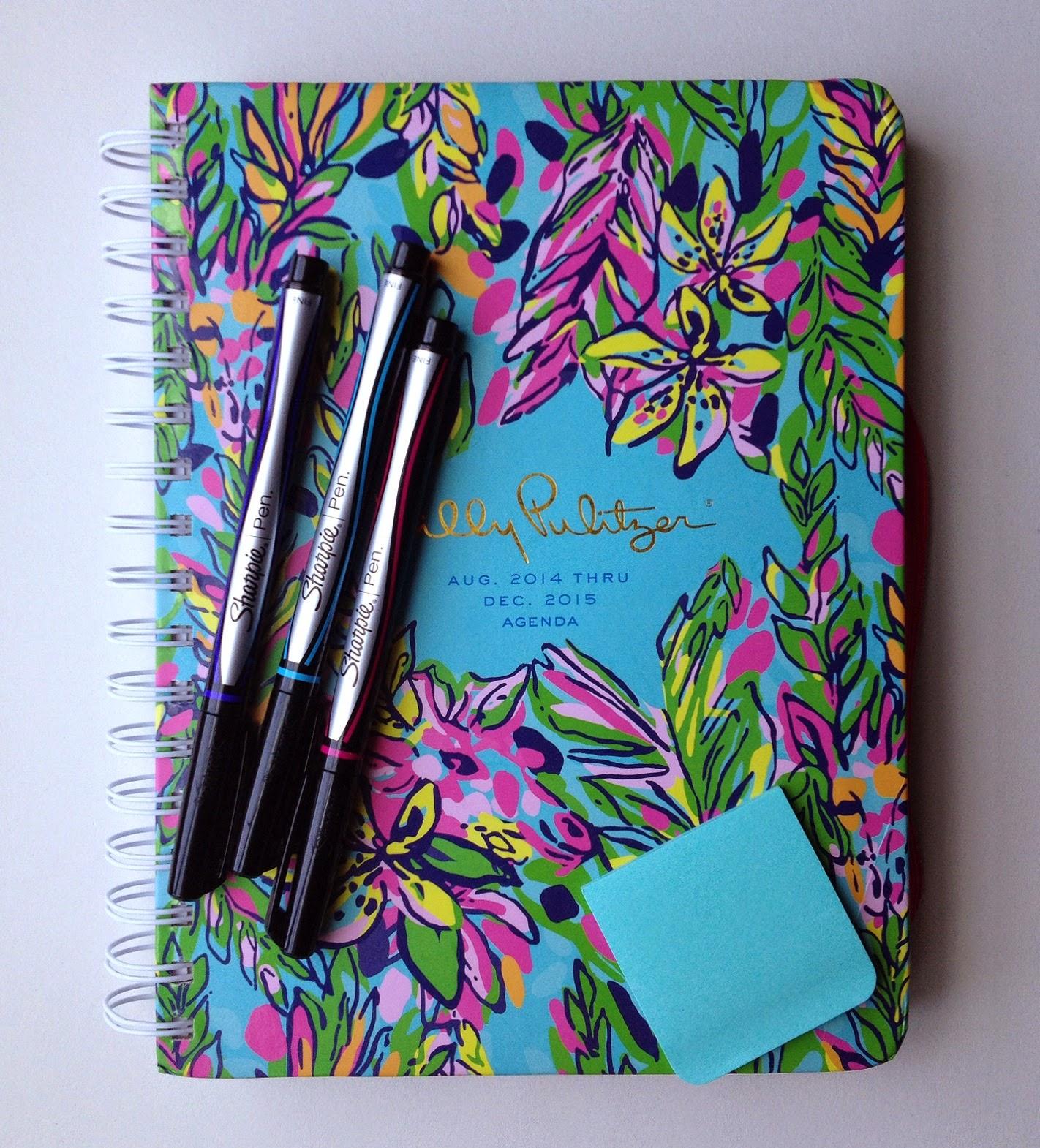 Lilly Pulitzer, planner, Lilly Pulitzer planner, Hot Spot, Sharpie, Sharpie pens