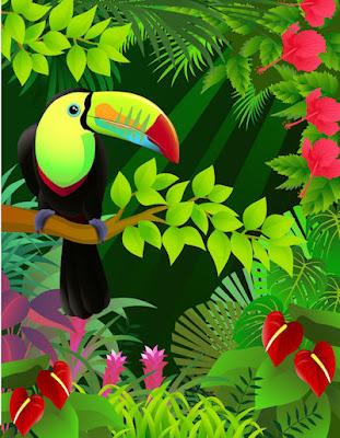 Ilustración fantástica de un tucán de colores en la jungla - Dibujos vectoriales de aves
