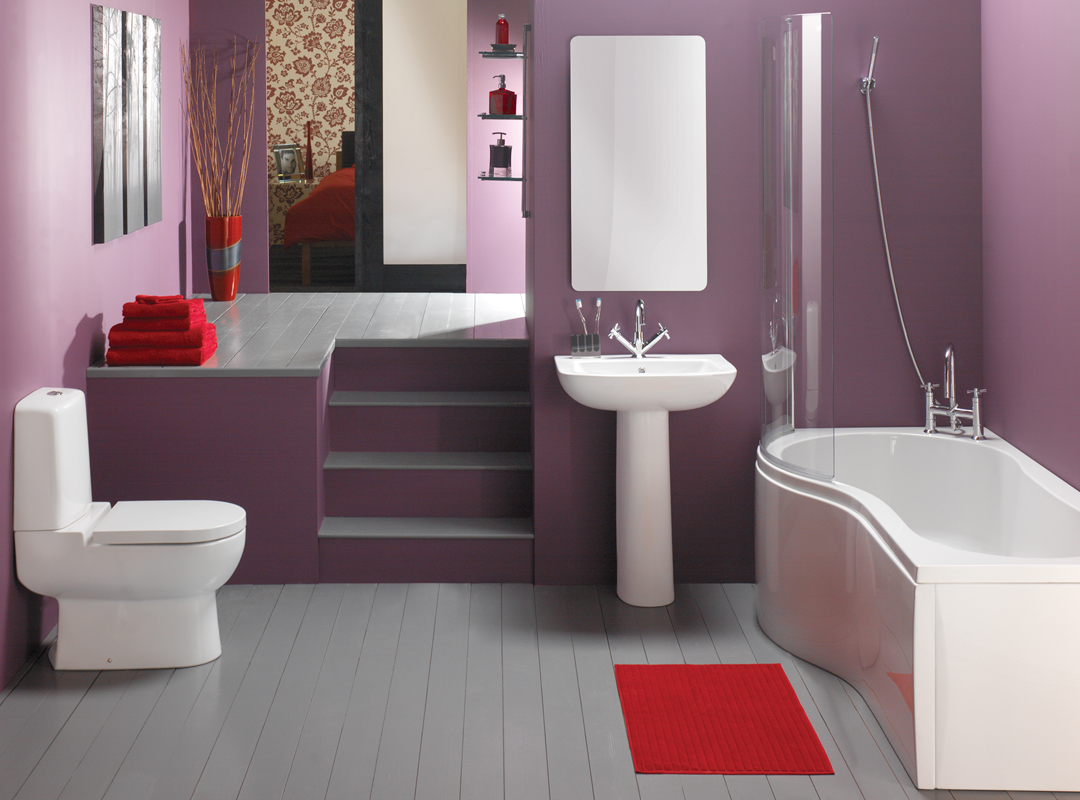 Classy simple purple bathroom design home design picture for Bathroom decor color schemes