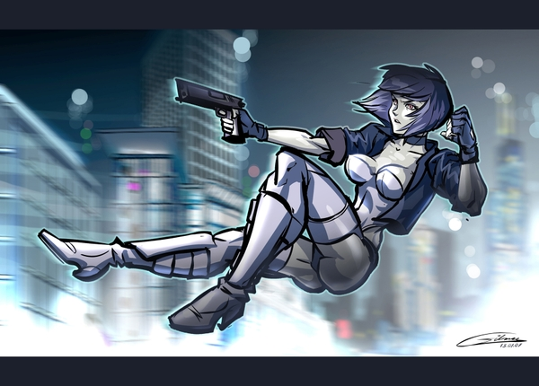Female in air firing gun in Ghost in the Shell 1995 animatedfilmreviews.blogspot.com