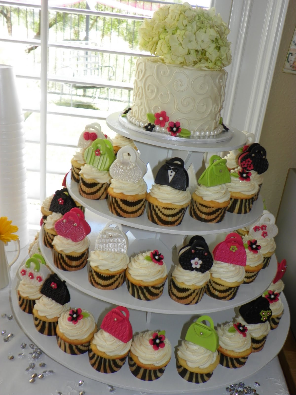 Bridal Shower Mini Purse Cupcake Tower