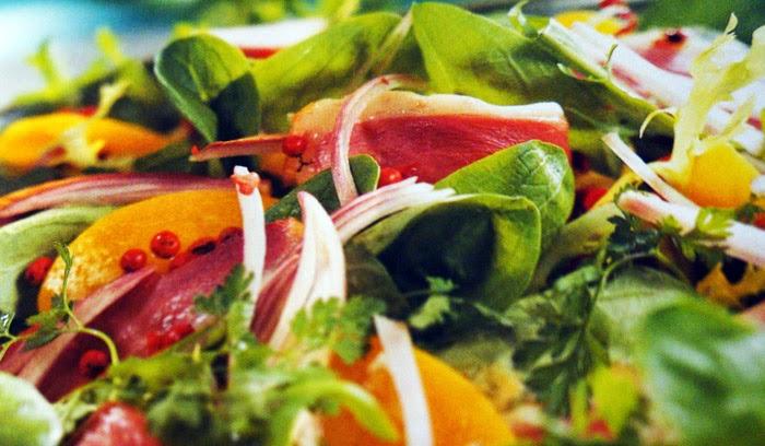 ensalada, ensaladas, alimentación, Vitaminas, pato, melocotones, ahumado, recetas sanas, receta,