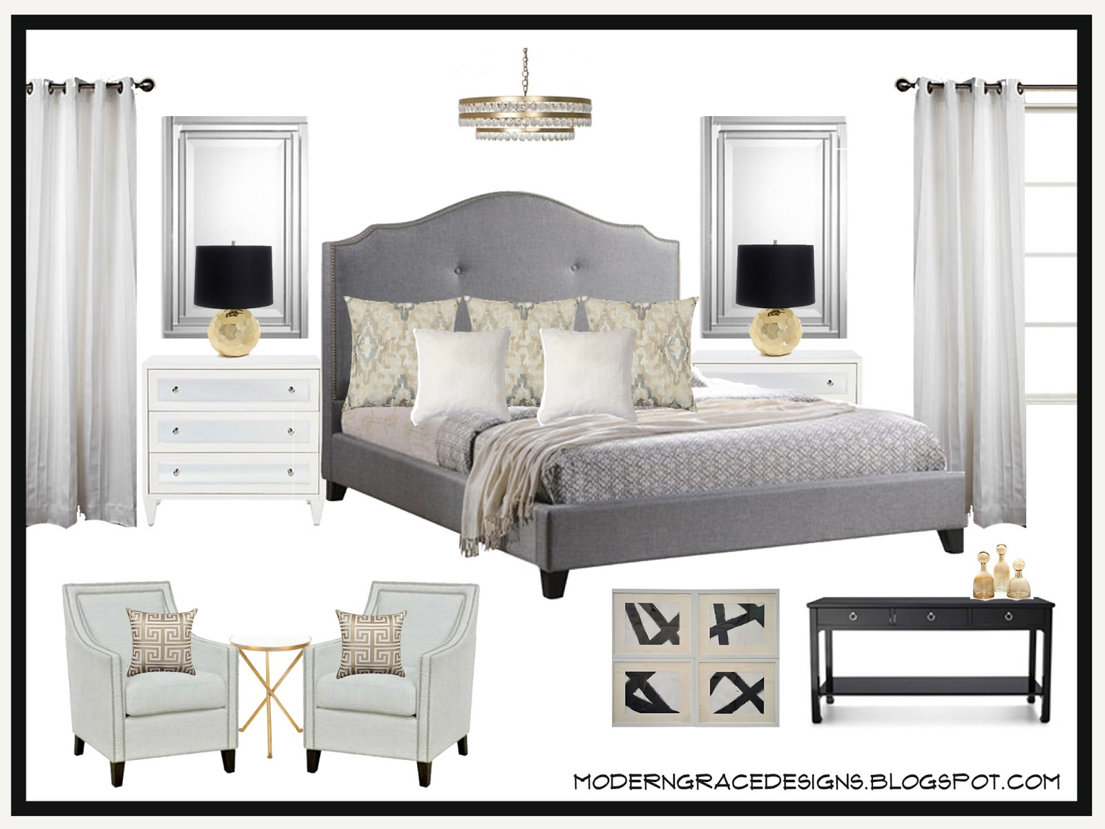 modern grace} designs: {design board:: elegant master bedroom