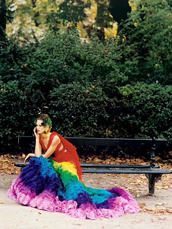 Karolina Kurkova photographed by Peter Lindbergh for Paris editorial | Harper's Bazaar US January 2003