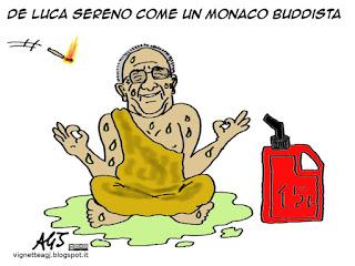 De Luca, serenità, monaci buddisti, bonzi, satira vignetta