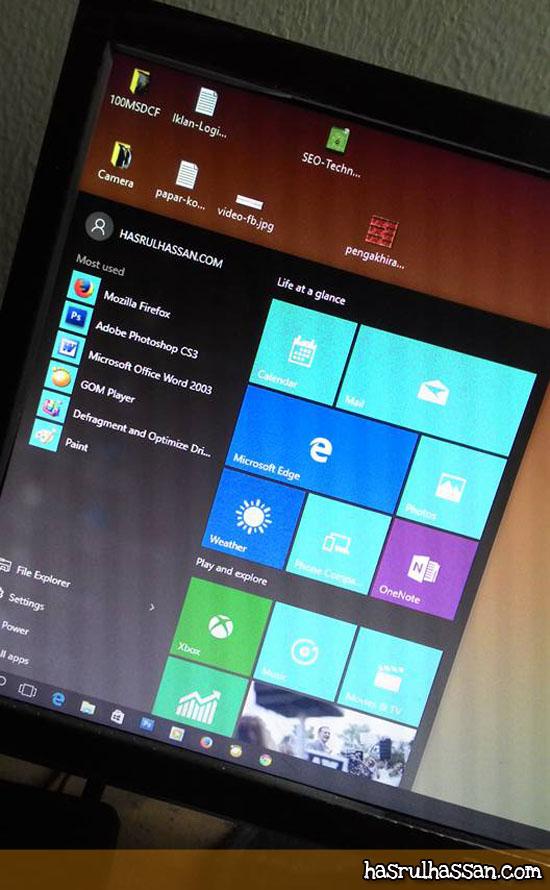 Pengalaman Pertama Guna Windows 10 Desktop