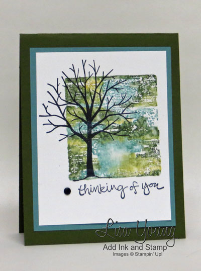 Stampin' Up! Sheltering Tree stamp set and acrylic block stamping with markers. Handmade thinking of you card with bare tree on watercolored background. Details can be found on Add Ink and Stamp blog. Made by Lisa Young