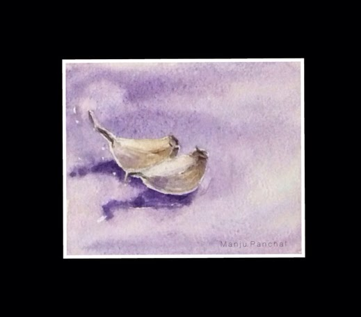 water colour painting of garlic by Manju Panchal