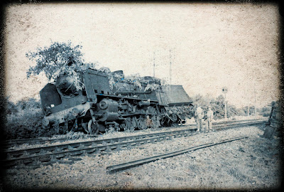 Vintage train wreck photo