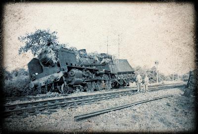 Vintage train wreck photo