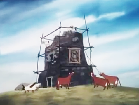 Reconstruyendo el molino de viento, en Rebelión en la granja - Cine de Escritor