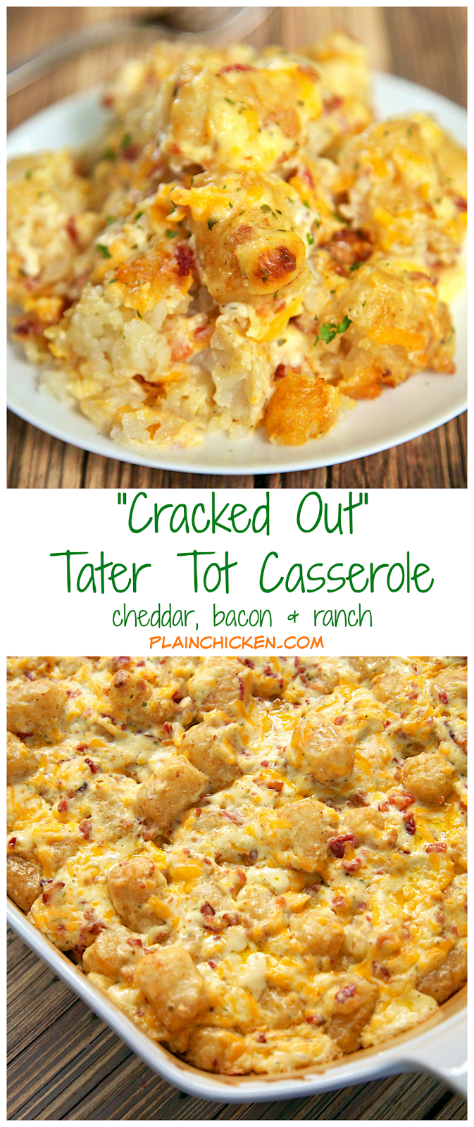 , Bacon and Ranch potato casserole using frozen tater tots. So simple ...