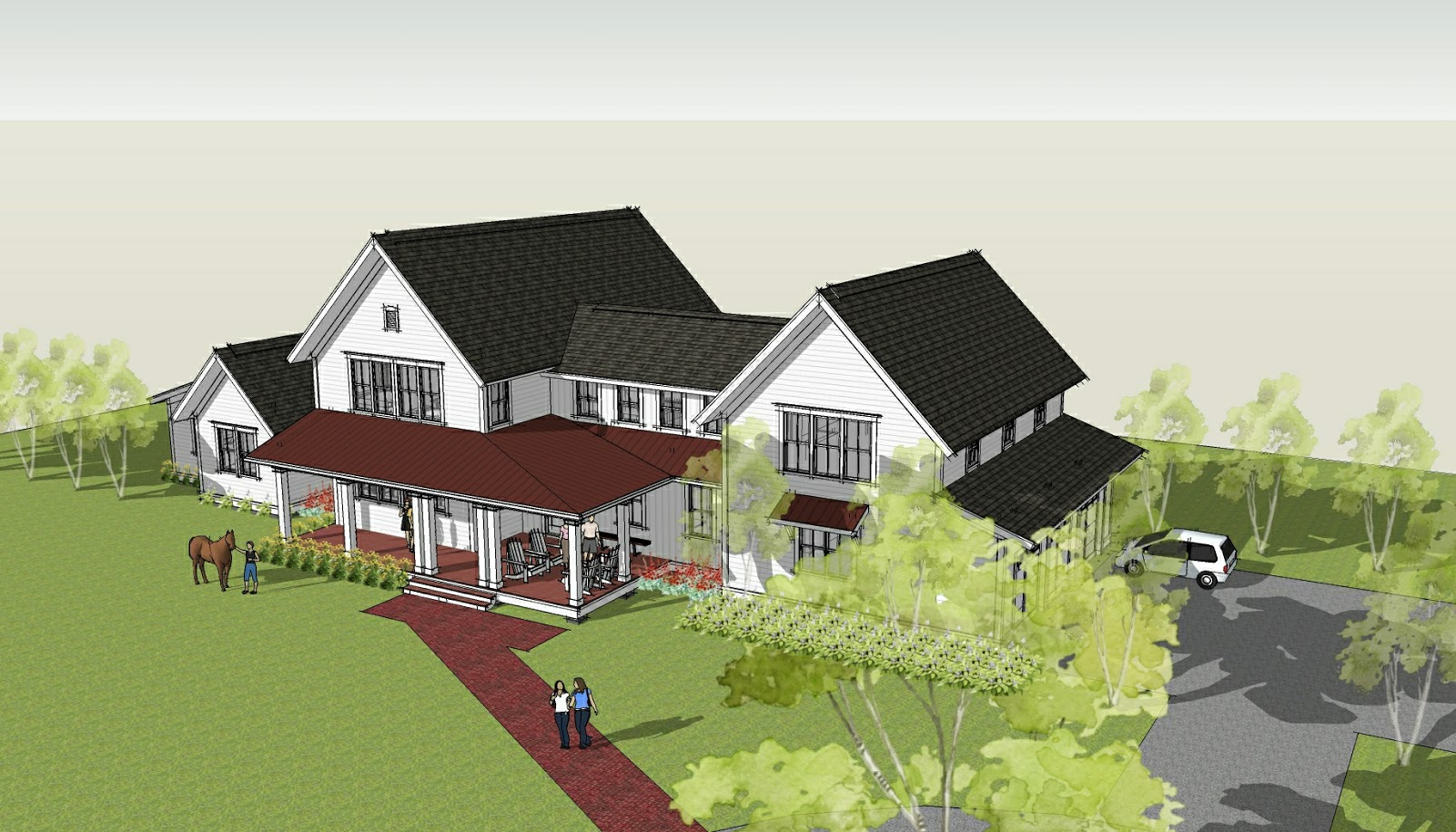 Ron brenner architects new modern farmhouse design completed for Farm house plans with photos