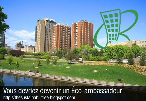 The conventional residences at the University of Ottawa beside the Green Reps logo