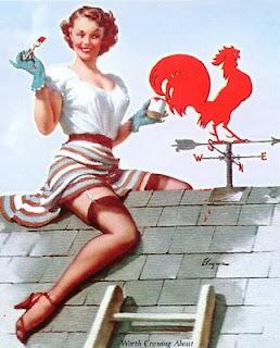 Chica pintando, sobre el tejado