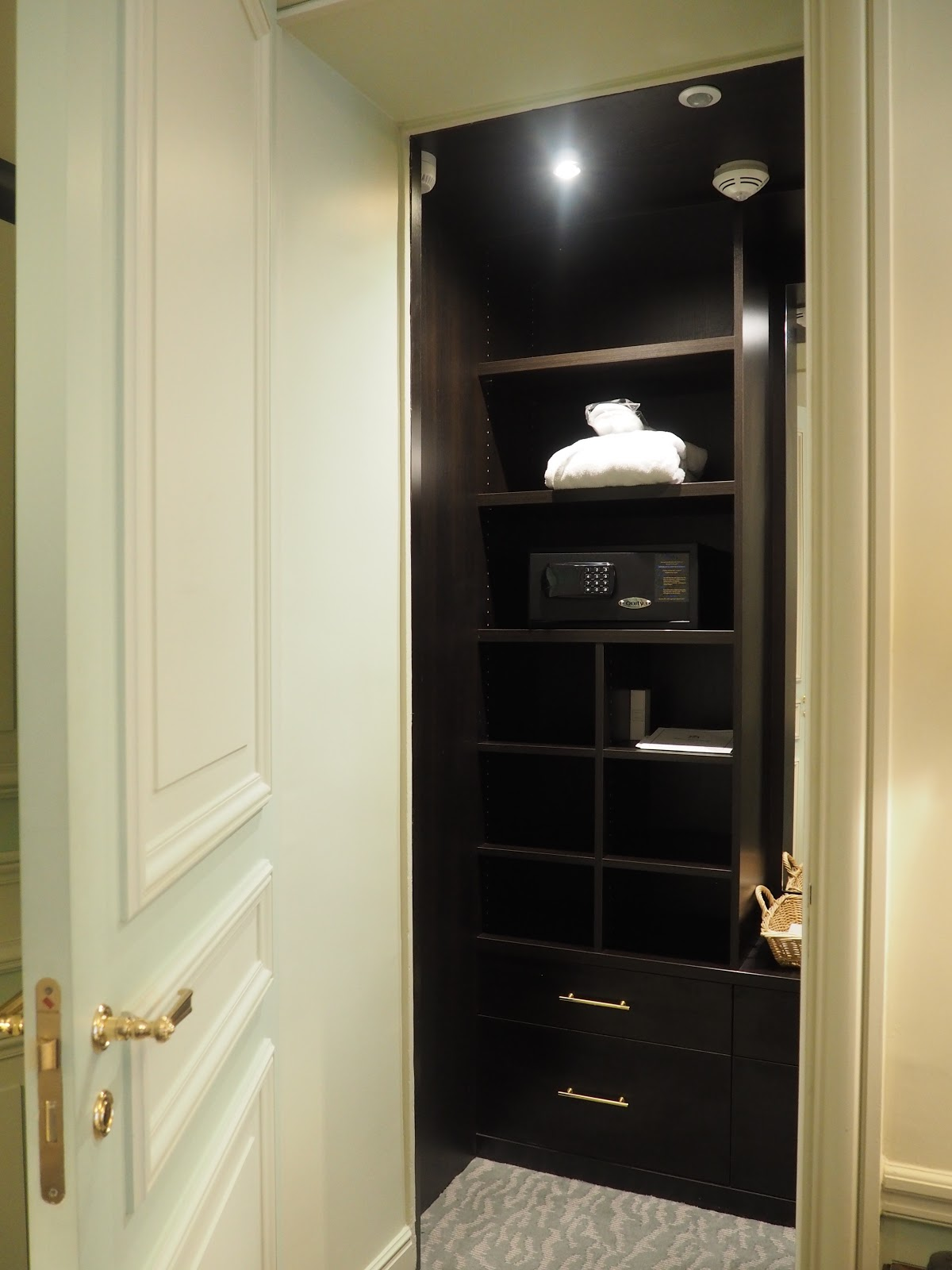 walk in wardrobe at Saint-Honore-Suite, Hotel Westminster, Paris