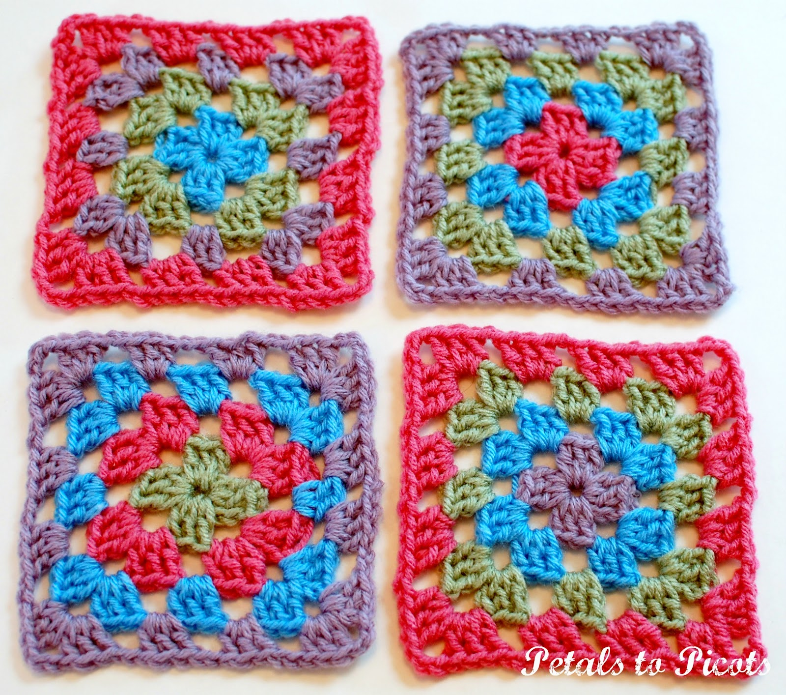 How to Crochet a Classic Granny Square: Granny Square Pattern - Petals ...