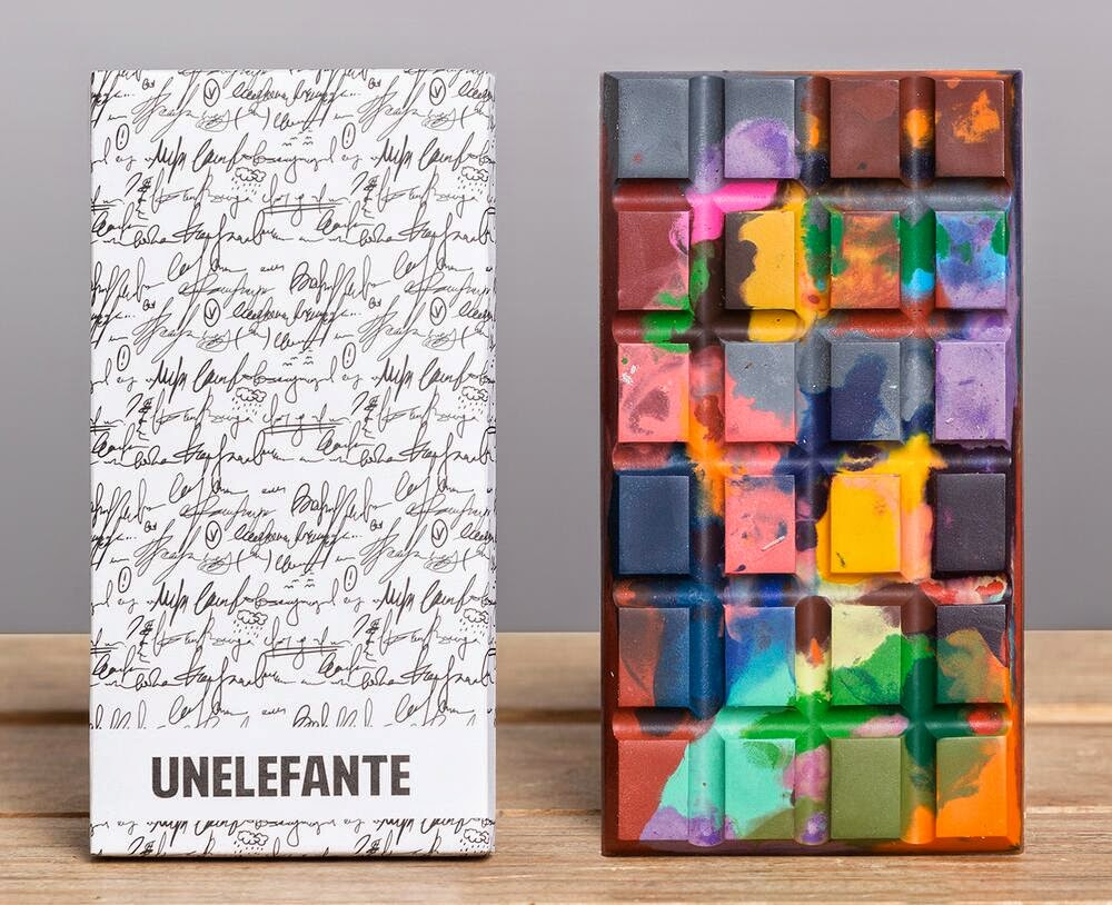 Edible Crayon And Paint Splattered Chocolate Bars By Unelefante