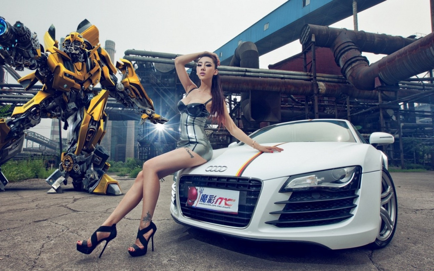 girls and tuner car - photo #2