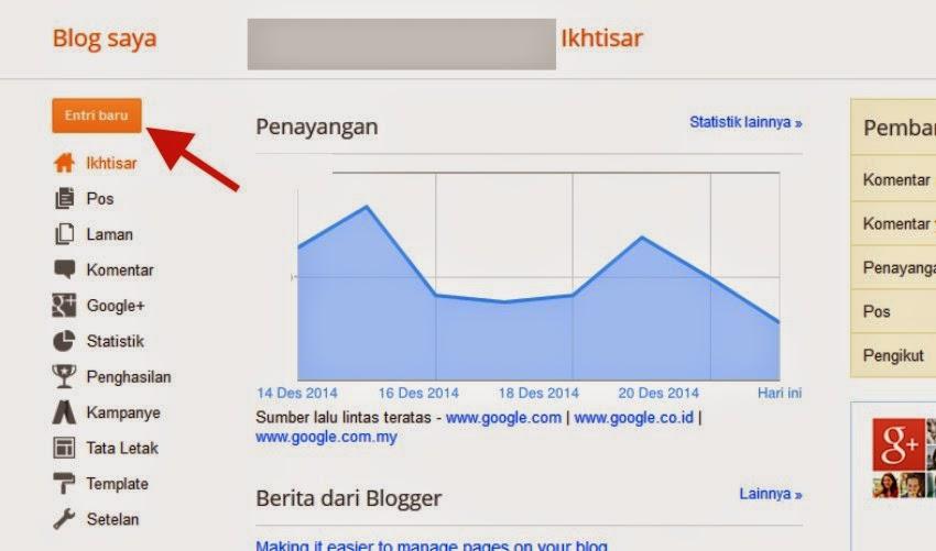 Cara menulis Postingan artikel di blogspot