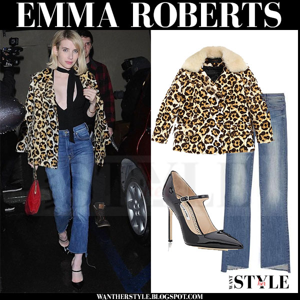 Emma Roberts in leopard print coach jacket and frayed mother insider crop jeans what she wore