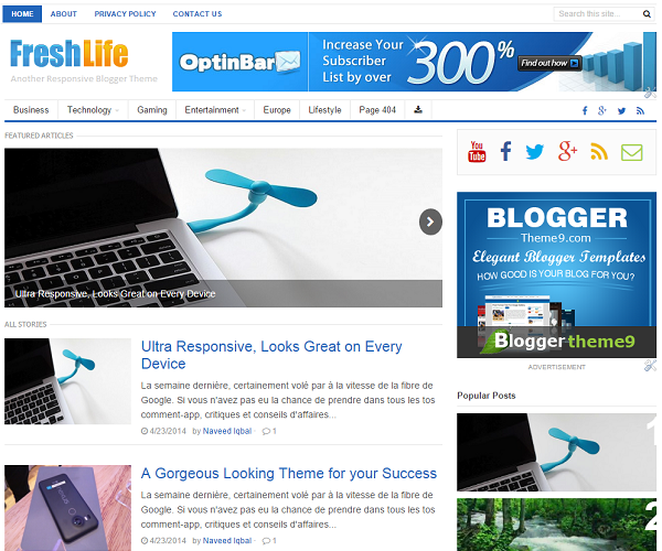 FreshLife blogger template