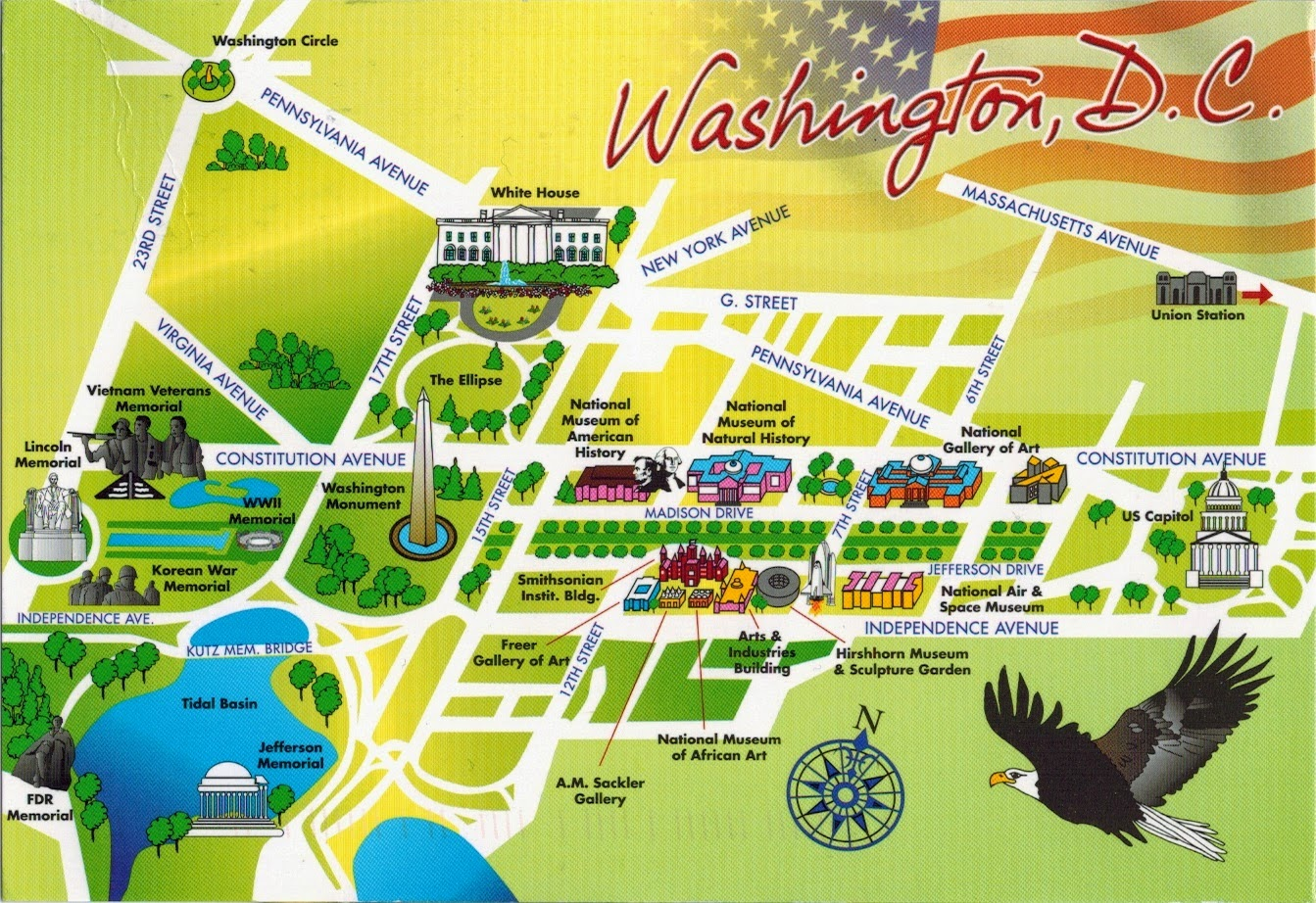 Map Cards - Hunting: 0357 USA - Washington, DC. Columbia