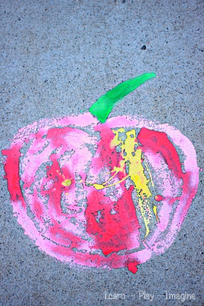 Apple scented sidewalk chalk paint - simple recipe you can make in minutes!