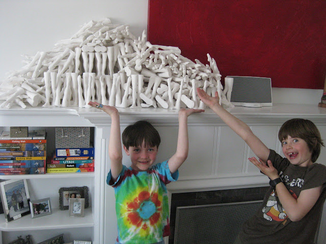 Jen Harmon Allen leg installation in home of Foster Art Patron