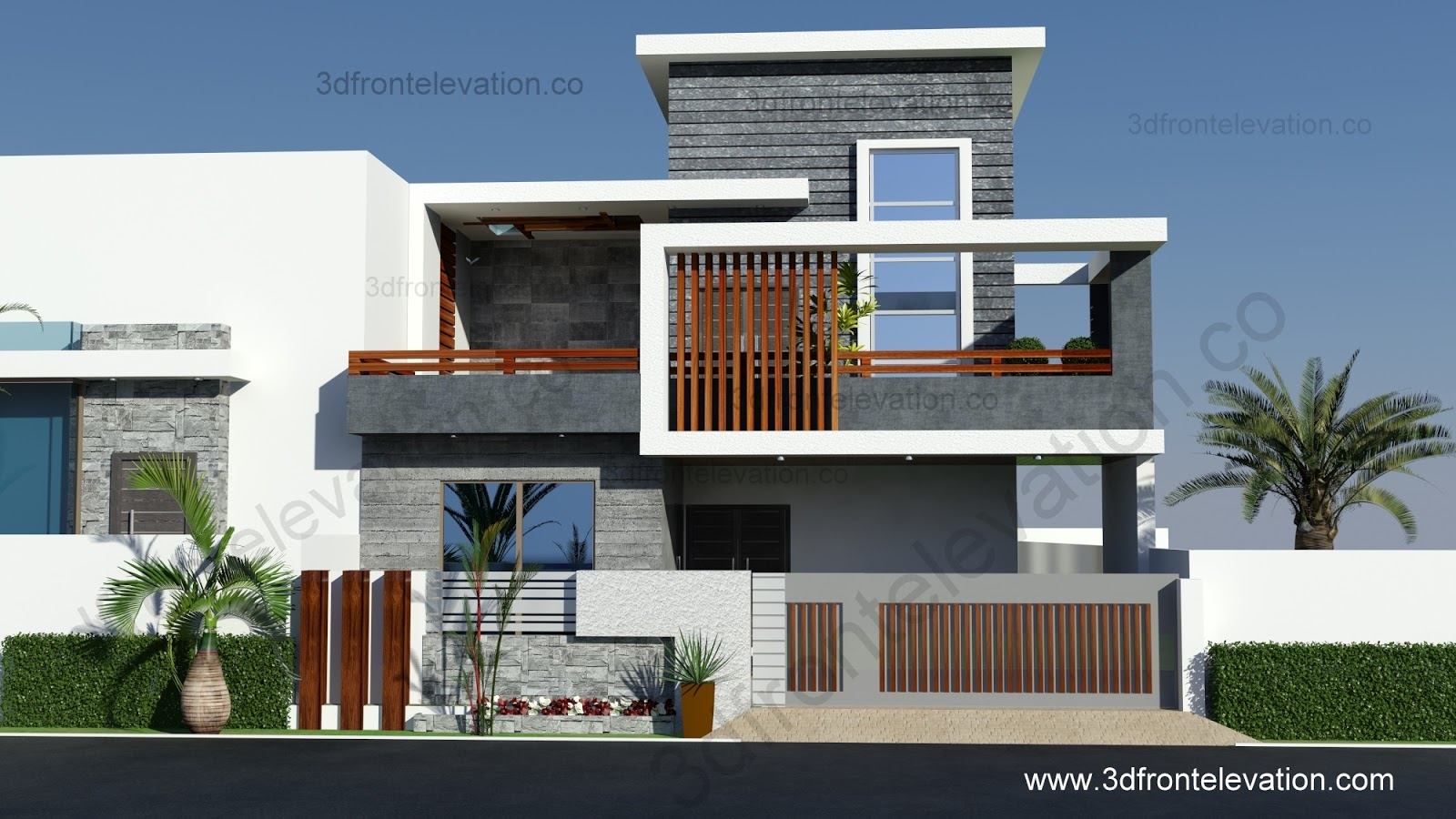 3d Front Elevation Com 10 Marla Contemporary House Design