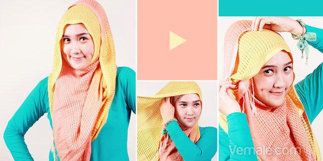 Cara Memakai JIlbab Dengan Pashmina Rajut