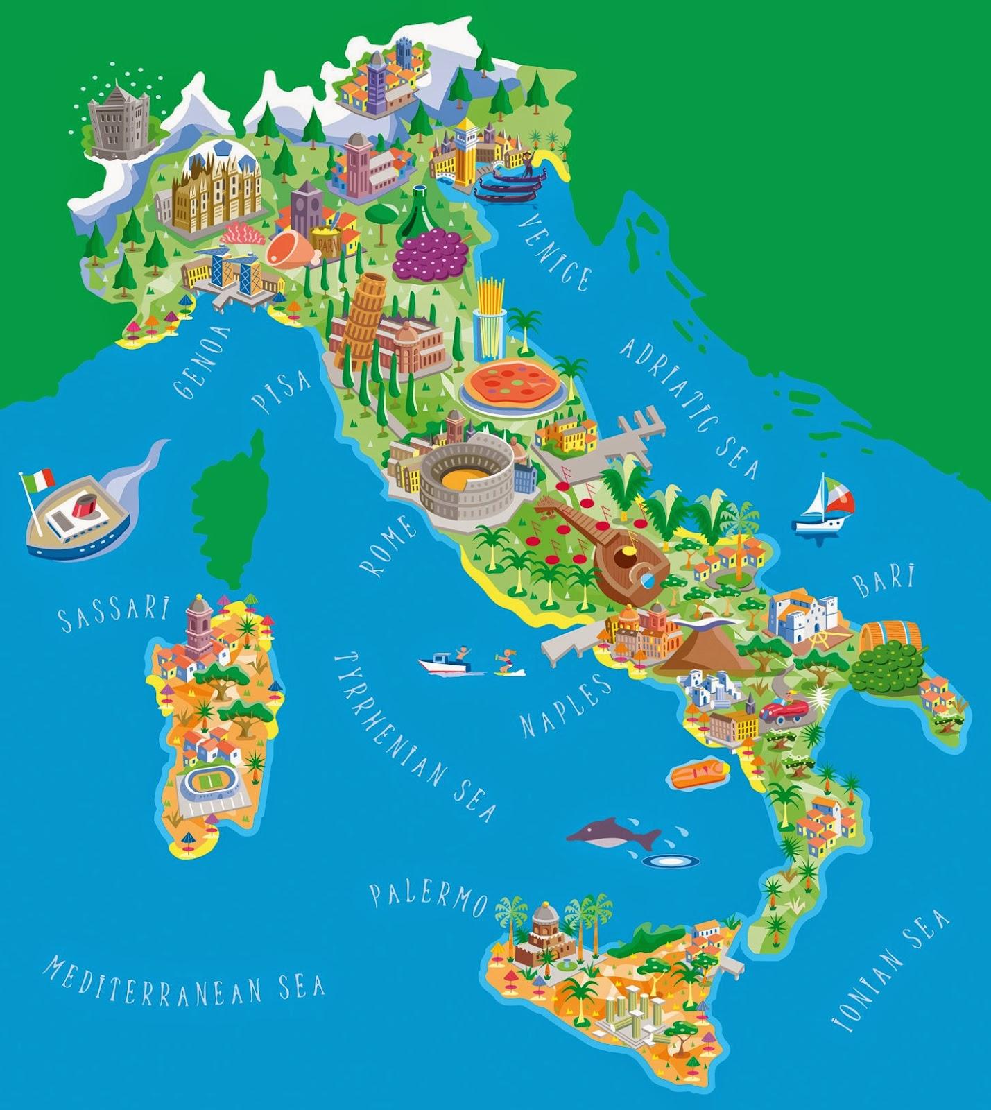 иллюстрированная туристическая карта Италии