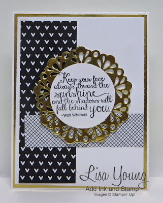Stampin' Up! Ray of Sunshine stamp set. Handmade card in black and gold by Lisa Young, Add Ink and Stamp