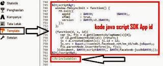 Gambar Cara memasang kode SDK App Id Facebook Untuk Website