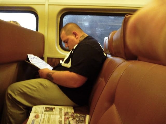 fat man on train