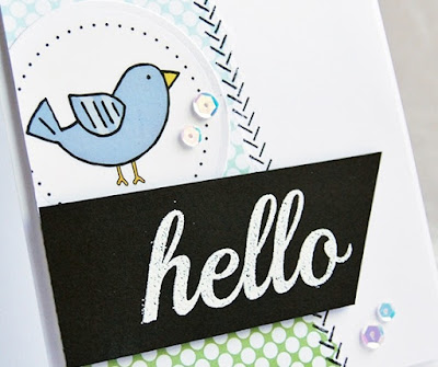 SRM Stickers Blog - Birdie BIG Hello by Tenia - #card #BIGstamps #BIGhello #hello #stickers #stampedstitches