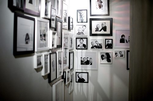 Mixing black and whites and color images in one space is usually a no no but mixing white frames and black frames with all black and white prints is a