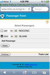 add passengers on irctc mobile site for booking