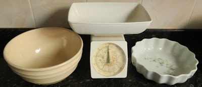 baking equipment, scales, mixing bowl, flan dish,