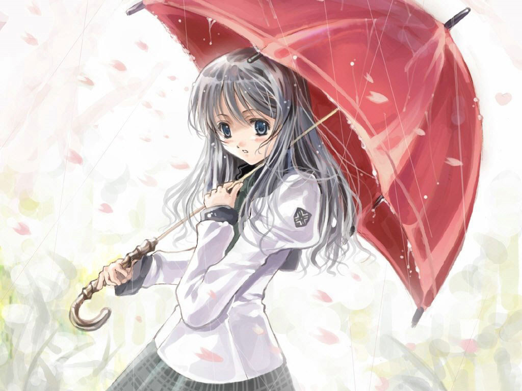 Anime Girl In The Rain Wallpaper