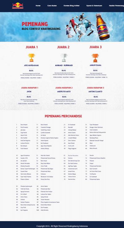 100 pendaftar pertama Kontes Blog Kratingdaeng