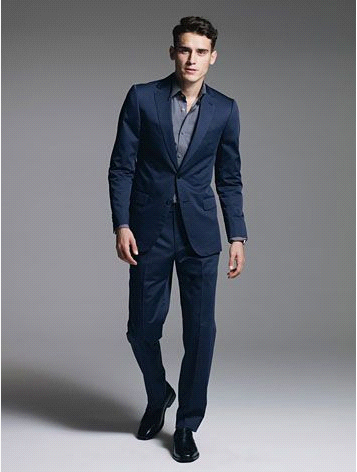 Navy Blue Dress Suit Dress Yy