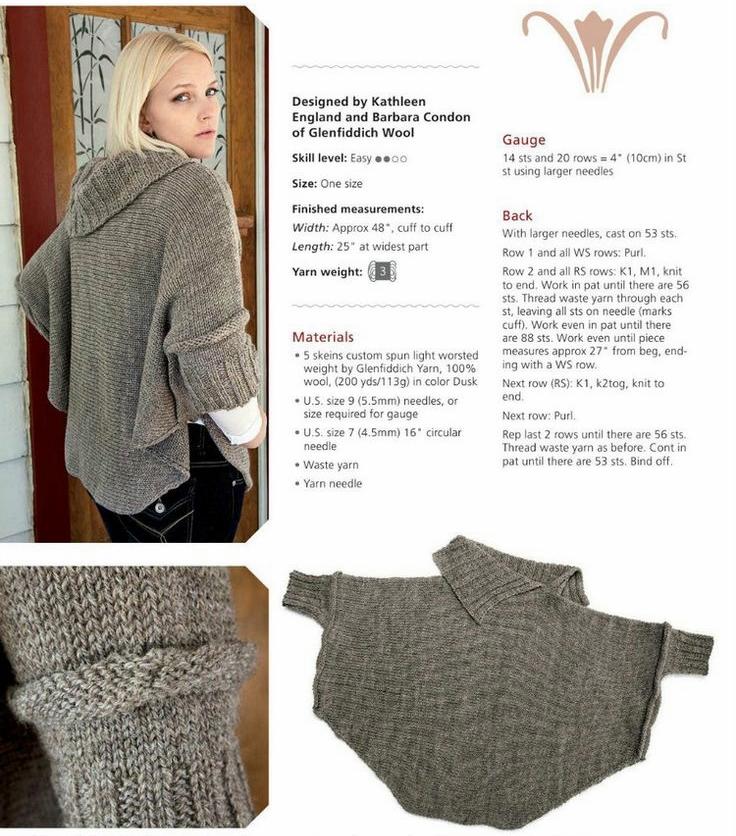Double Knitting Patterns For Poncho : Dziana Moda: Proste poncho do zrobienia na drutach