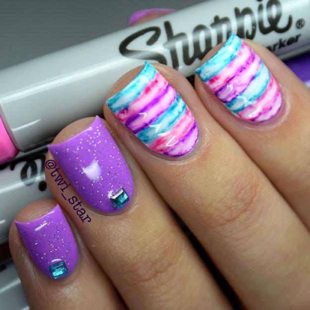 Twi Star Nail Art Blog Sharpie Watercolor Nails Tutorial