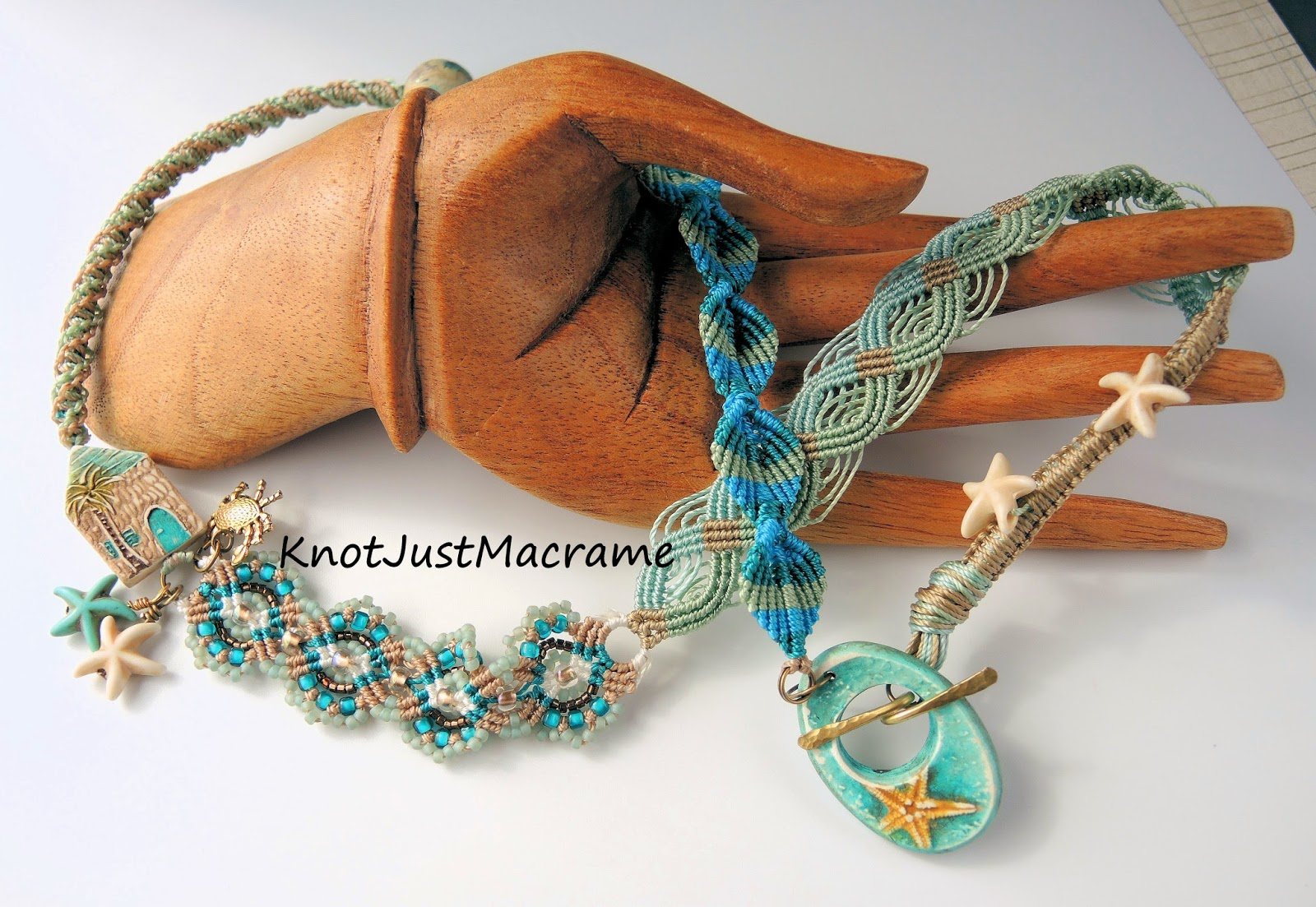 Beach and ocean themed micro macrame wrap bracelet by Sherri Stokey.