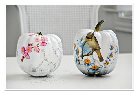 Un lugar para so ar calabazas decoradas con decoupage for Decorar calabazas secas