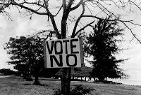 Vote No sign, Marianas District Covenant campaign