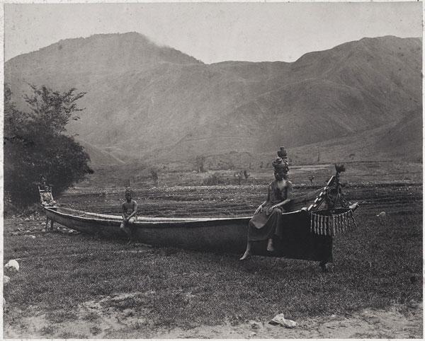 Batak war canoe near Lake Toba, Sumatra, 1870