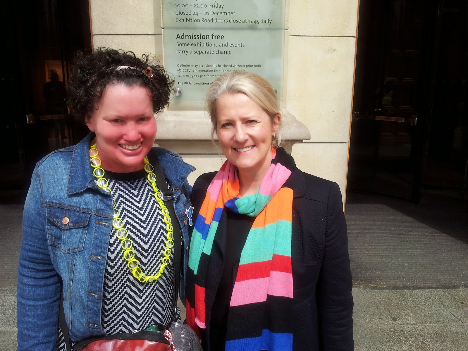Carly Findlay and Maggie Alderson outside the Victoria and Albert Museum London